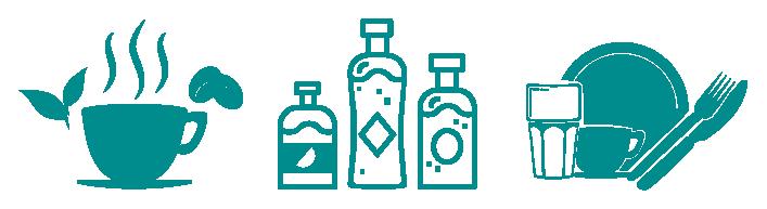 Grafiken für die vorhandenen Getränkeauswahl: Kaffee, Tee und diverse Softdrinks
