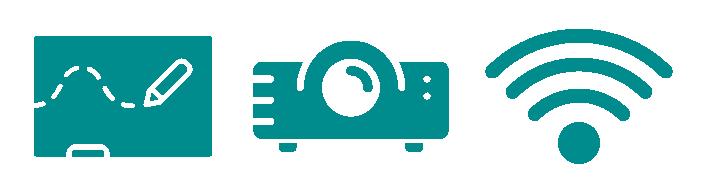 Grafiken für die vorhandene Workshop-Ausstattung: Flipcharts, Beamer und Highspeed-WLAN